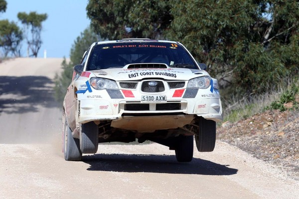 Michael Harding in his Subaru WRX STi
